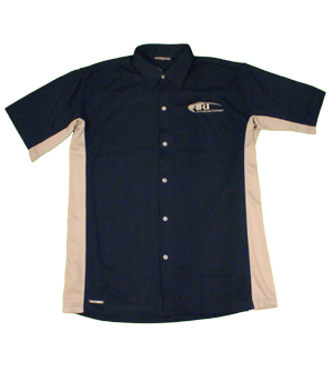 Boardroom Mens Travelers Shirt in Navy with Tan